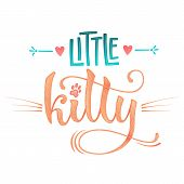 Little Kitty Quote. Color Baby Shower Hand Drawn Calligraphy Style Lettering Phrase. poster