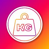 Color Weight Line Icon Isolated On Color Background. Kilogram Weight Block For Weight Lifting And Sc poster