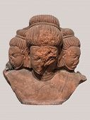 Archaeological Sculpture Standing Of Bust Of Brahma, The Creator From Indian Mythology Figure From S poster