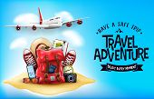 3d Realistic Travel Items Like Airplane, Backpack, Sneakers, Mobile Phone, Passport And Sunglasses I poster