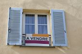 Apartment For Sale Sign (a Vendre In French Language) In Front Of An Apartment Building In Castellar poster