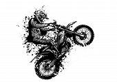Motocross Rider Ride The Motocross Bike Vector Illustration poster