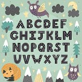 Fantasy Forest Alphabet For Children. Awesome Abc Poster. Vector Illustration poster