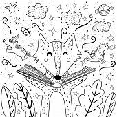 Magic In The Books Coloring Page With Cute Wolf. Black And White Background For Adults And Children. poster