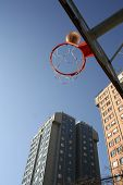 stock photo of bounce house  - an image of playing basketball at the outside - JPG