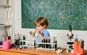 Practical Knowledge Concept. Study Grants And Scholarship. Smart Children Performing Chemistry Test. poster