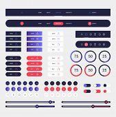 Modern Web Elements Navigation On Blue Background. Web Elements With Navigation, Buttons, Icons For  poster