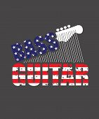 Bass Guitar Graphic With Stars And Stripes In An American Flag, Or 4th Of July Theme In Red, White A poster
