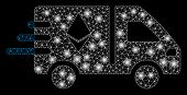 Glossy Mesh Express Ethereum Delivery Car With Lightspot Effect. Abstract Illuminated Model Of Expre poster