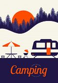 Camping And Travel Concept Poster Background Vintage Retro Style. Graphic Design Element Template Ca poster
