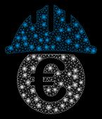 Bright Mesh Euro Under Safety Helmet With Glitter Effect. Abstract Illuminated Model Of Euro Under S poster