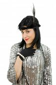stock photo of hustler  - young beautiful woman dressed for a party - JPG