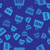 Blue Weight Icon Isolated Seamless Pattern On Blue Background. Kilogram Weight Block For Weight Lift poster