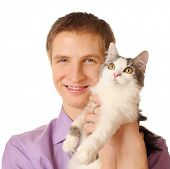 picture of minion  - Smiling young man holds cat isolated on white background - JPG
