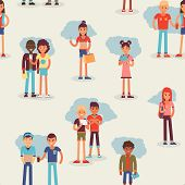 Youth Teens Group Vector Grouped Teenagers And Friends Characters Of Girls Or Boys Together Illustra poster