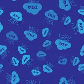 Blue Cloud Api Interface Icon Isolated Seamless Pattern On Blue Background. Application Programming  poster