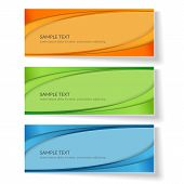 Card With Abstract Wavy Lines Orange Blue Green Curved Lines On A Colored Background Creative Card T poster
