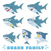 Cartoon Sharks Family. Newborn Baby Shark, Comic Marine Father And Cheerful Mother Sharks Characters poster