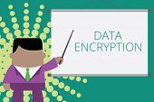 Writing Note Showing Data Encryption. Business Photo Showcasing Symmetrickey Algorithm For The Encry poster