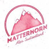 Mountain Mattehorn Outdoor Adventure Insignia. Climbing, Trekking, Hiking, Mountaineering And Other poster