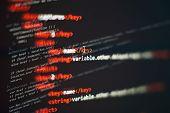 Abstract Computer Script Code. Programming Code Screen Of Software Developer. Software Programming W poster