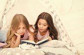 Girls Best Friends Read Fairy Tale Before Sleep. Best Books For Kids. Children Read Book In Bed. Rea poster