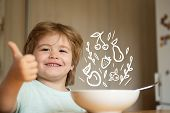 Parenthood. Little Boy - Ecology Food Concept. Portrait Of Beautiful Child Having Breakfast At Home. poster