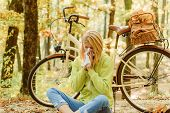 Runny Nose Remedies. Seasonal Allergy. Woman Handkerchief Sneezing Because Of Allergy. Blonde Allerg poster