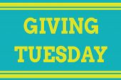 Word Writing Text Giving Tuesday. Business Concept For International Day Of Charitable Giving Hashta poster