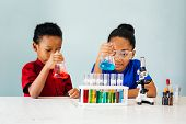 African American Curious Pretty Clever Kids Sitting With Flasks, Beakers And Microscope In School Ch poster