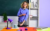 Smiling Teacher In Classroom. Young Female Teacher. Young Teacher In Glasses Over Green Chalkboard B poster