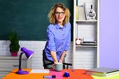 Smiling Teacher In Classroom. Young Female Teacher. Back To School. Teacher With Cup Of Coffee. poster