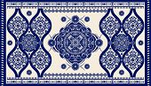 Colorful Ornamental Vector Design For Rug, Carpet, Tapis. Persian, Turkey Rug. Geometric Floral Back poster