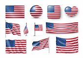 Various American Flags Set Isolated On White Background. Realistic Waving American Flag On Pole, Tab poster