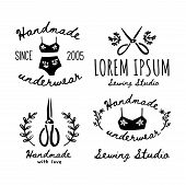 A Set Of Handmade Icons, Labels, Icons And Logo Elements. Vector Illustration Of Handmade Scissors A poster