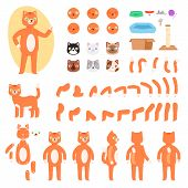 Cat Constructor Vector Animal Character Creation Of Feline Kitty Head Paw Pussycat Tail And Animalis poster