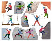 Kids Climbing Vector Climber Children Character Climbs Rock Mountain Wall Or Mountainous Cliff Illus poster