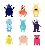 Cute Monsters. Funny Monster Aliens Mascots. Crazy Hungry Halloween Toys Isolated Cartoon Vector Cha poster