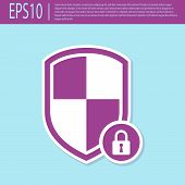 Retro Purple Shield Security With Lock Icon Isolated On Turquoise Background. Protection, Safety, Pa poster