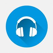 Headphones Vector Icon. Flat Headphones Icon Illustration. poster