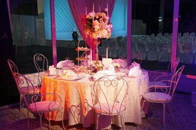 picture of wedding table decor  - Table set for an event party or wedding reception - JPG