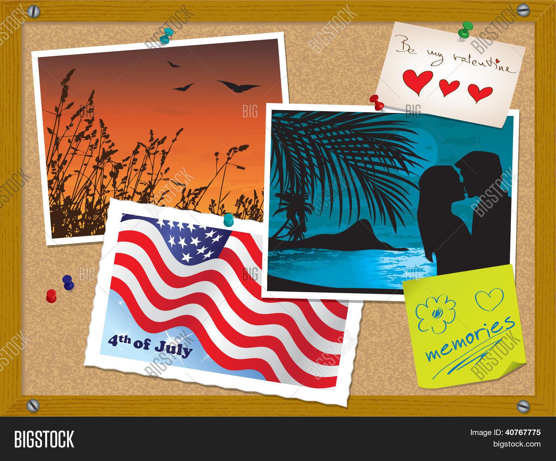 Vectores y fotos en stock de tablero de corcho con fotos - Corcho para fotos ...