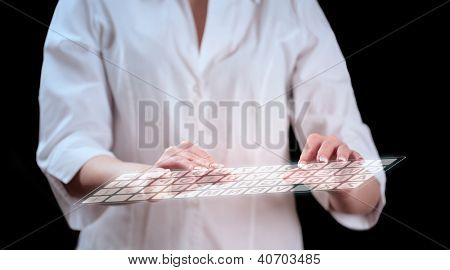 Secretary hands on keyboard. Future technology.