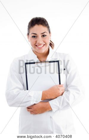 Smiling Doctor Holding Writing Pad