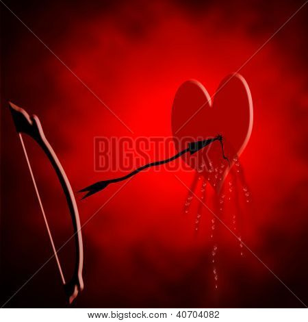 Abstract Bleeding Heart With Arrow