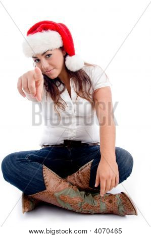 Pointing Woman With Christmas Hat