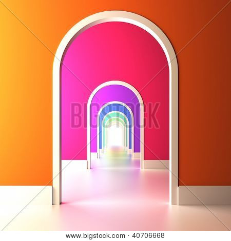 A 3d illustration of archway to the colorful future.