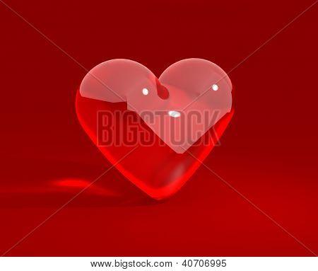 Coração de vidro grande vermelho sobre o fundo vermelho. Plano de fundo dia dos Namorados