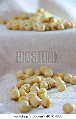 Hazelnuts On Natural Cloth