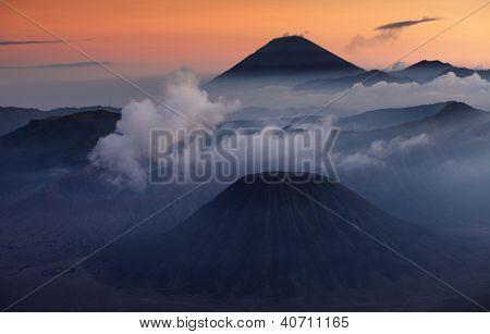 Volcanoes in Bromo Tengger Semeru National Park at sunset. Java, Indonesia